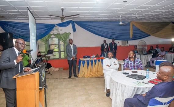 Governor Godwin Obaseki of Edo State (left), speaking at the end of an orientation programme organised for new staff of the State Universal Basic Education Board (SUBEB), in Benin City.
