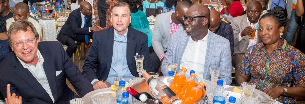 L-R: Consul General, American Embassy in Nigeria, F. John Gray; United States Ambassador to Nigeria, W.  Stuart Symington; Edo State Governor, Godwin Obaseki and his wife, Betsy, during a dinner held after the Smithsonian Institute, Edo state government and other partners organised an Art Exhibition at the National Museum Benin.
