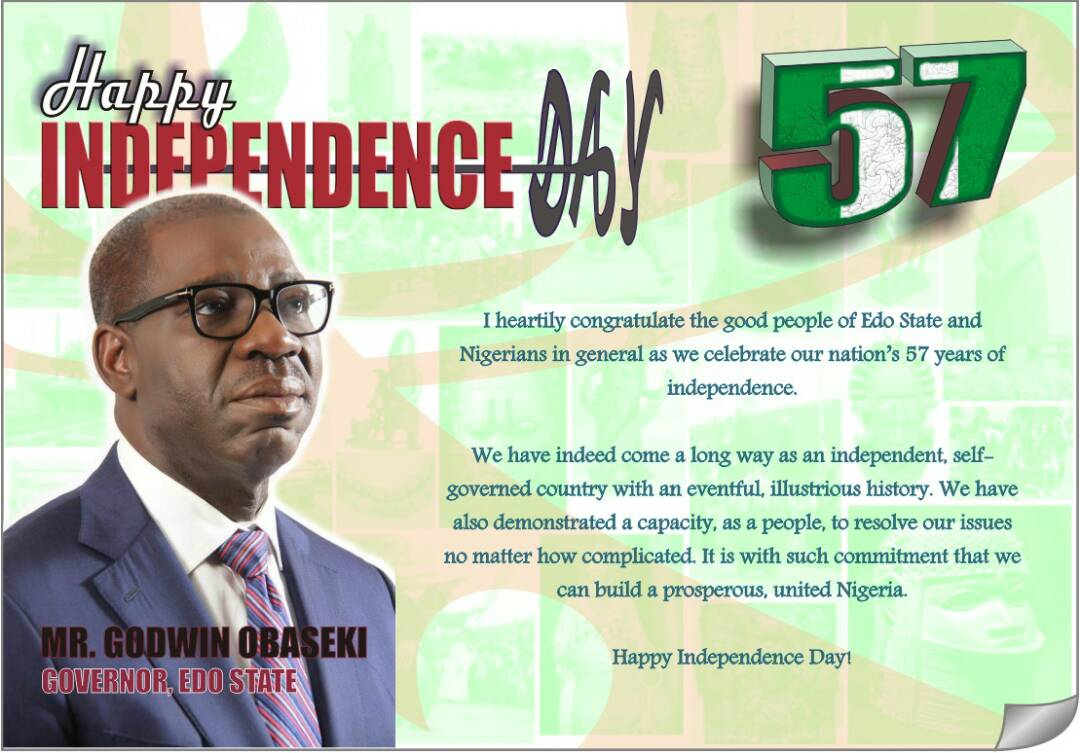 PRESS STATEMENT   Nigeria at 57: Obaseki congratulates Nigerians, urges peaceful co-existence