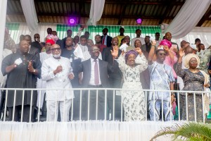 L-R: Governor of Bayelsa State, Seriake Dickson; Governor of Ondo State, Rotimi Akeredolu (SAN); Edo State Governor, Mr. Godwin Obaseki; First Lady of Edo State, Mrs. Betsy Obaseki; Edo State Deputy Governor, Rt. Hon. Philip Shaibu; and the Deputy Governor of Ogun State, Chief Mrs. Yetunde Onanuga at the one-year anniversary thanksgiving service of Governor Obaseki in Benin City on Sunday, November 12, 2017.