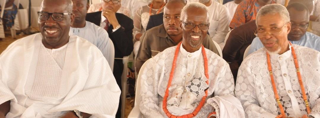 L-R: Edo State Governor, Mr. Godwin Obaseki, Prof. John Orife, and Mr. James Orife at the Funeral Service of Late Chief Mrs. Angela Amajuoritse Gbinije, held at St. John the Baptist Catholic Chaplaincy, Federal University of Petroleum Resources, Effurun, Delta State at the weekend