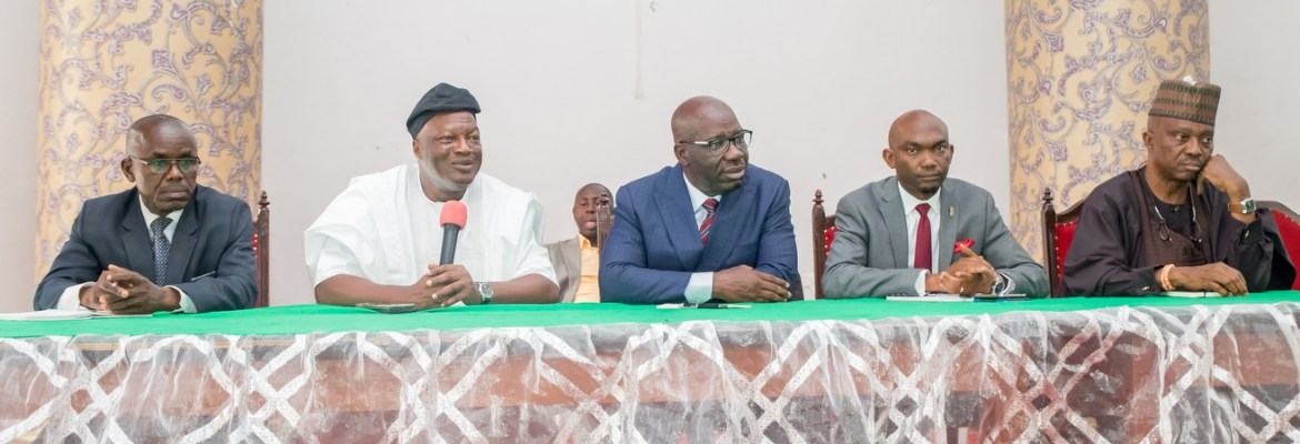 IMG_4086: L-R: I.D.S. Juwobor, Permanent Secretary, Edo Pensions Bureau; Secretary to the Edo State Government (SSG), Osarodion Ogie, Esq.; Governor Godwin Obaseki; Chief of Staff, Taiwo Akerele and Special Adviser on Political Matters to the Governor, Osaro Idah, during a courtesy call by leaders of Edo Ijaws to the Government House, Benin City, on Wednesday, December 20, 2017.