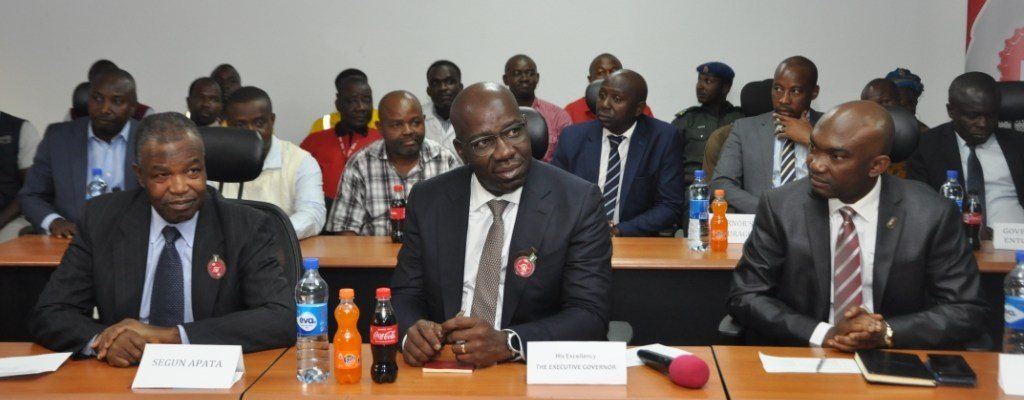 L-R: Member, Board of Directors, Nigeria Bottling Company (NBC), Ambassador Segun Apata; Edo State Governor, Mr. Godwin Obaseki; and Chief of Staff to the Governor, Chief Taiwo Akerele, during the governor's working visit to the NBC Benin Plant at Eyaen, Edo State.