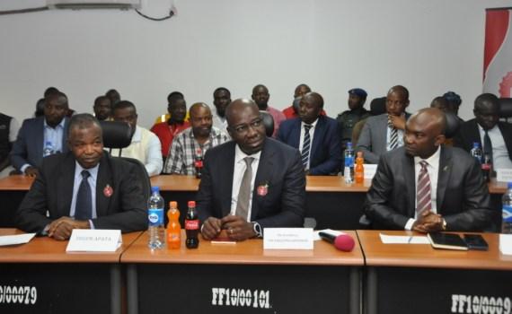 L-R: Member, Board of Directors, Nigeria Bottling Company (NBC), Ambassador Segun Apata; Edo State Governor, Mr. Godwin Obaseki; and Chief of Staff to the Governor, Chief Taiwo Akerele, during the governor's working visit to the NBC Benin Plant at Eyaen, Edo State.