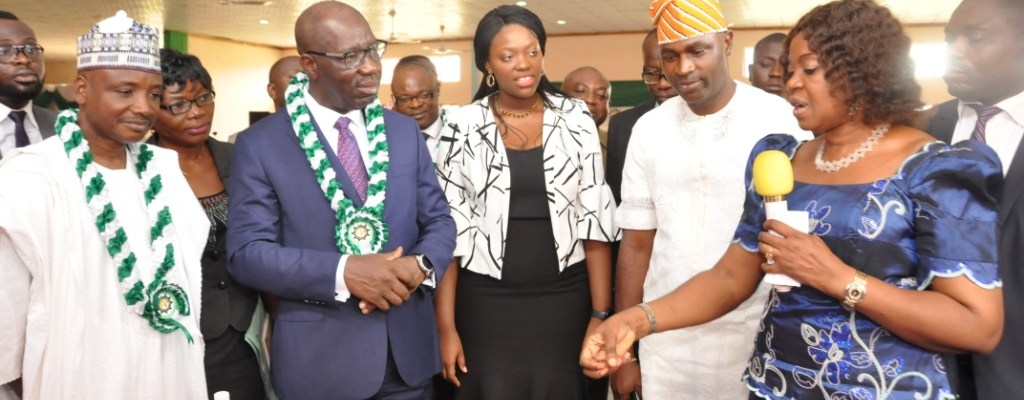 L-R: Director-General, National Directorate of Employment (NDE), Nasir Mohammed Ladan; Edo State Governor, Mr. Godwin Obaseki; Senior Special Assistant to the Governor on Skills Development and Head, EdoJobs, Mrs. Ukinebo Dare; Commissioner for Youth and Special Duties; Hon. Mika Amanokha and Edo State Coordinator, NDE, Mrs. Ayo Edegbai, at the flag-off ceremony of NDE training programme for 76,400 people in various states in Southern Nigeria, held at Imaguero College Hall, in Benin City, on Tuesday, January 23, 2018.