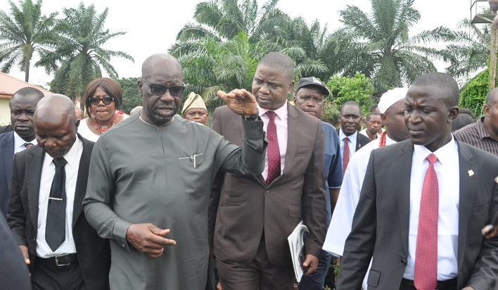 Obaseki inspects CBN's school project in Isi, assures host community of judicious use