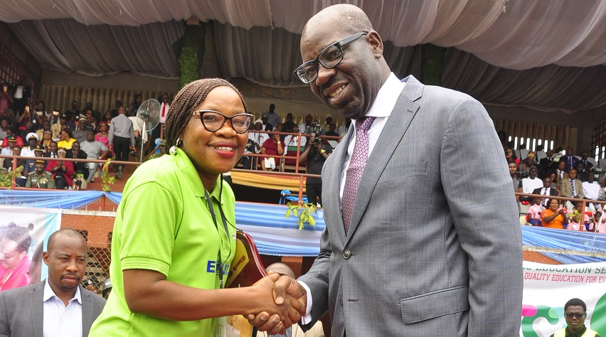Obaseki's car, N1m cash gifts to 2nd best teacher in Nigeria excite recipient