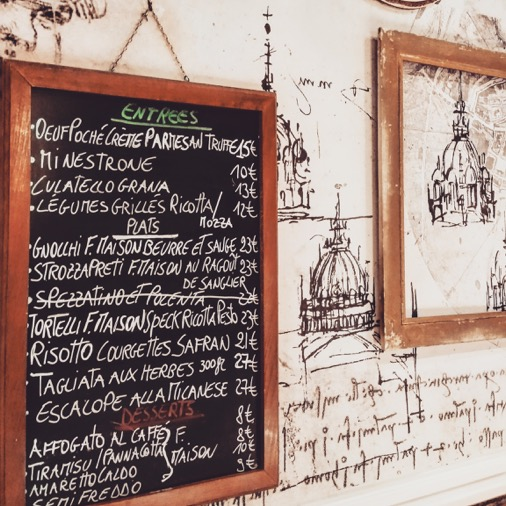 ardoise menu carte restaurant oliva italien traditionnel paris 08