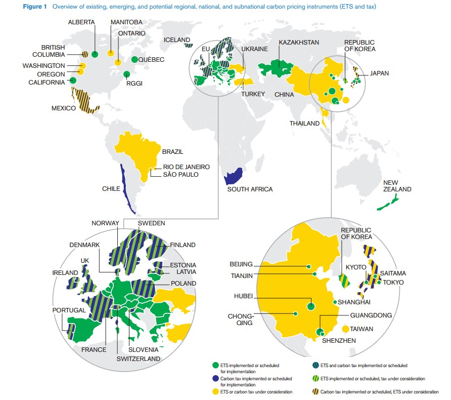 World Bank - Carbon pricing map