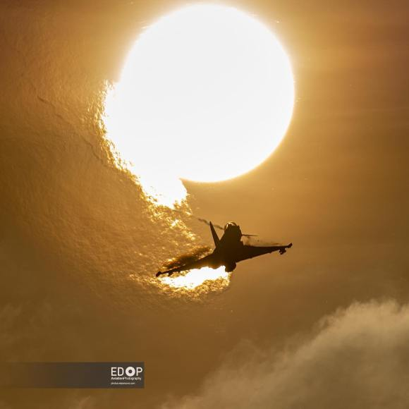 Flying into the sunset,  the last Typhoon display of the season!
