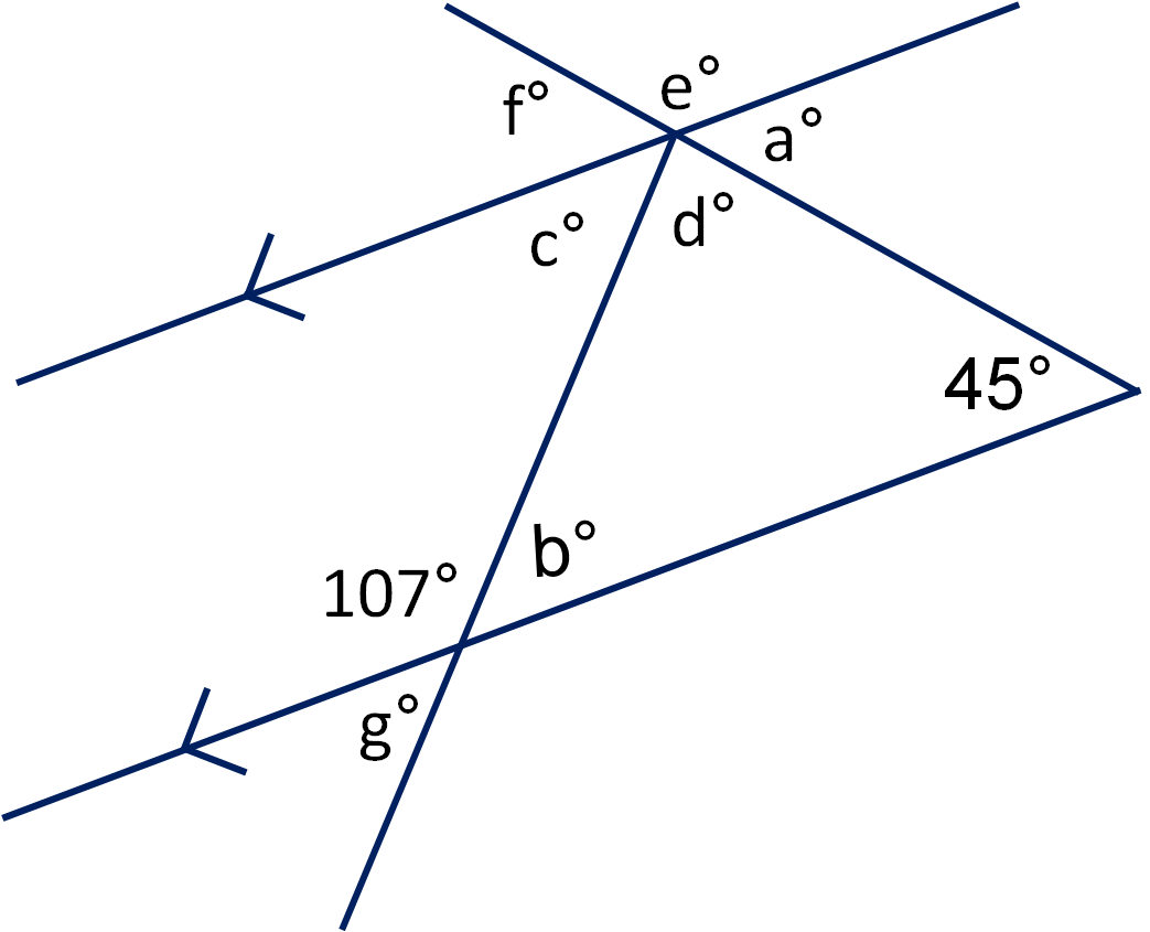 Angles In Triangles And On Parallel Lines 2 Worksheet