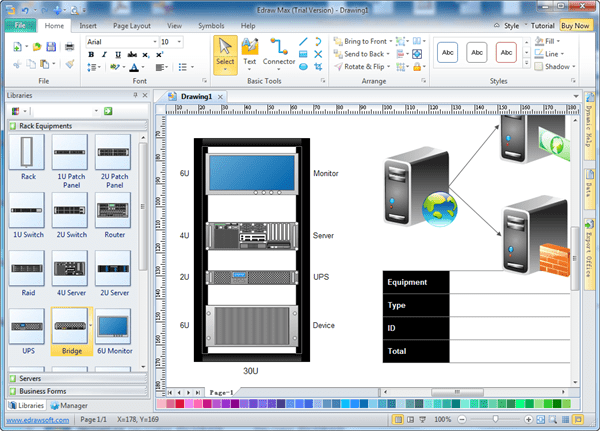 rack layout tool edraw network diagram