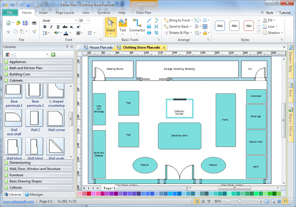 Floor plans of retail clothing stores for Retail store layout software