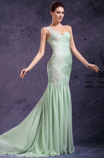 eDressit New Adorable One Shoulder & Sweetheart Light Green Evening Dress Prom Gown