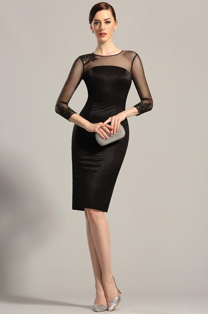 Long Sleeves Sheer Top Little Black Dress