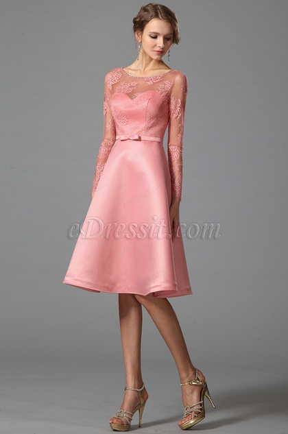 Long Sleeves Illusion Sweetheart Pink Party Dress