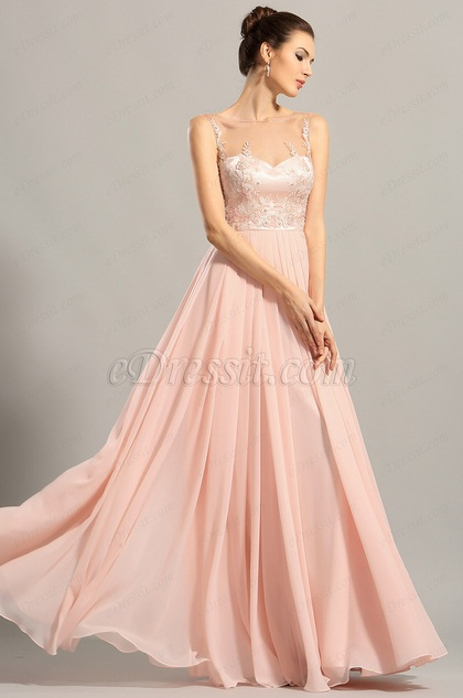 Elegant Sleeveless Embroidered Pink Evening Gown Prom Dress (00153801)
