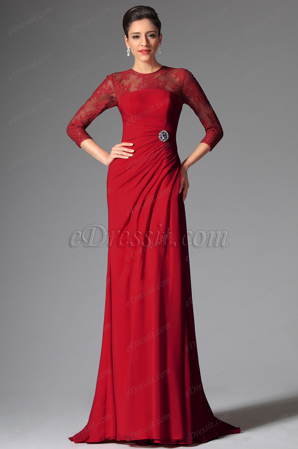 red mother of the bride dress