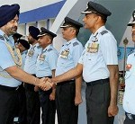 New Delhi: Commanders of Western Air Command being introduced to Air Chief Marshal BS Dhanoa, Chief of the Air Staff at HQ Western Air Command, Subroto Park, New Delhi during WAC Commanders' Conference on Monday. PTI Photo / DEF (PTI10_23_2017_000081B)