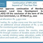 Cabinet approves continuation of Members of Parliament Local Area Development Scheme beyond 12th Plan