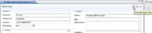 Figura 7  exibindo tabs avançadas do editor visual para o arquivo pom.xml