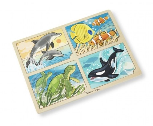 4-in-1 Sea Life Wooden Jigsaw