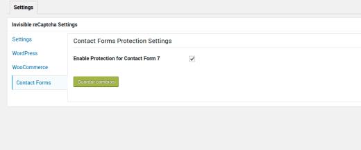Configuración reChaptcha invisible para Contact Form 7