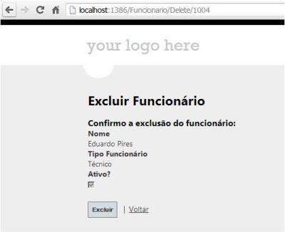 ASP.Net MVC Exclusão