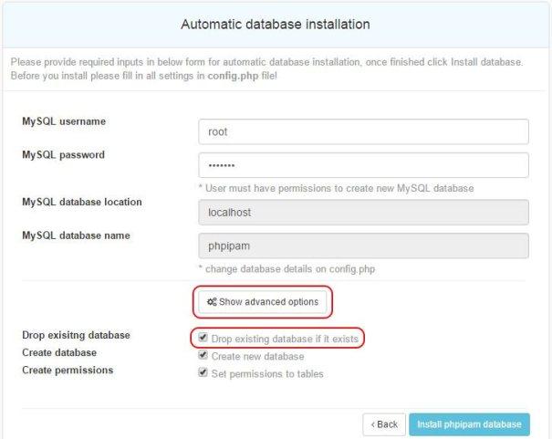 """Clique em """"Show advanced options"""" e marque a opção """"Drop existing database if it exists"""""""