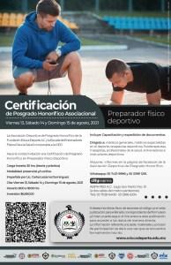 Certificación de Posgrado Honorifico Preparador Físico Deportivo.