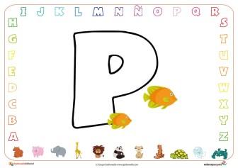 Ficha abecedario para colorear P
