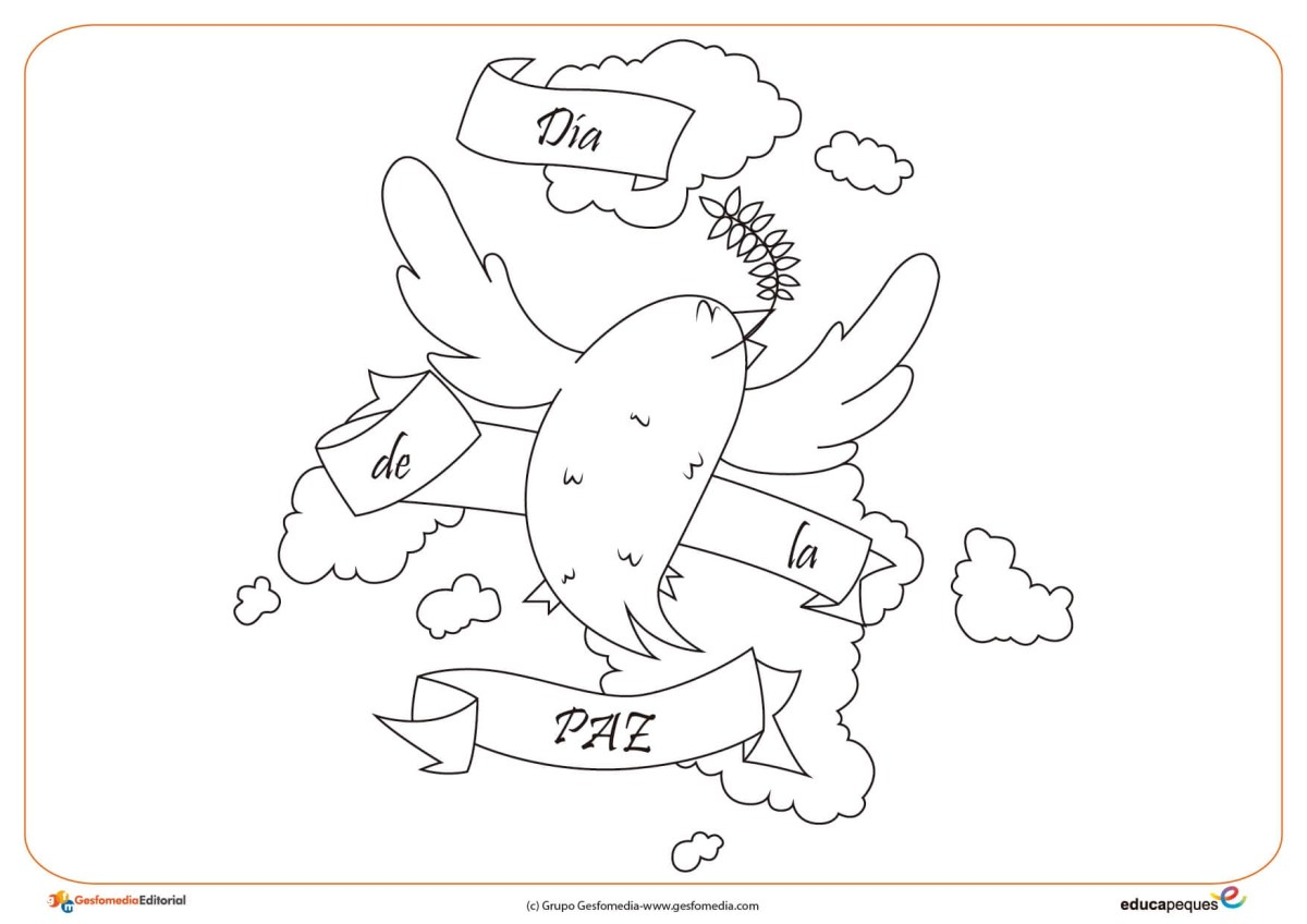 1. Ficha del día de la paz para dibujar y colorear por los niños