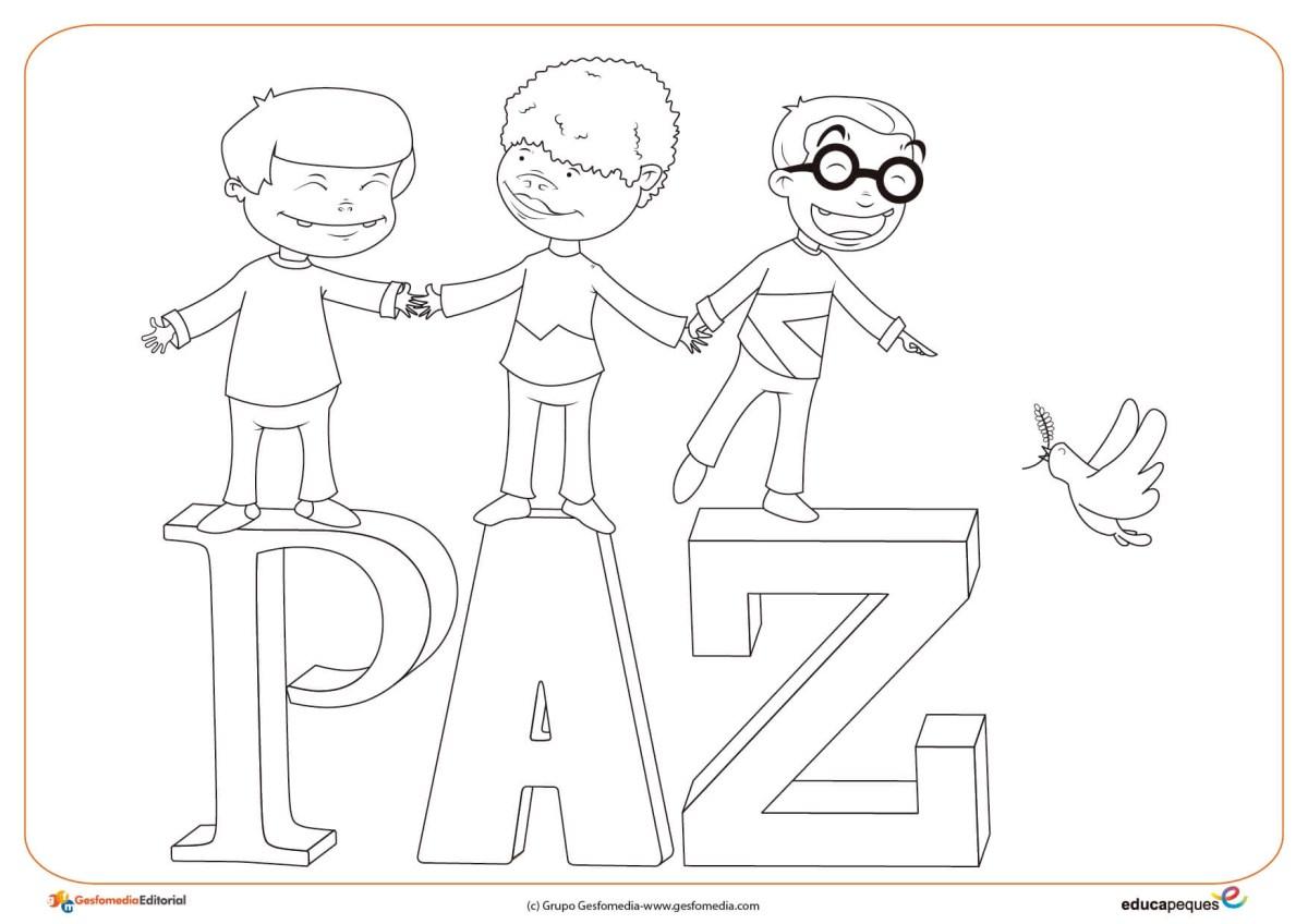3. Ficha del día de la paz- niños paz para dibujar y colorear por los niños