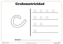 """Ficha de grafomotricidad con la letra """" C"""""""