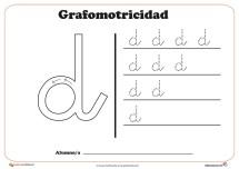 """Ficha de grafomotricidad con la letra """" d"""""""
