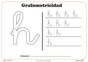 """Ficha de grafomotricidad con la letra """" H"""""""