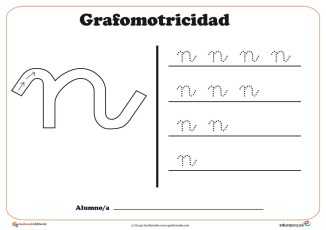 """Ficha de grafomotricidad con la letra """"N"""""""