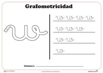 """Ficha de grafomotricidad con la letra """"W"""""""