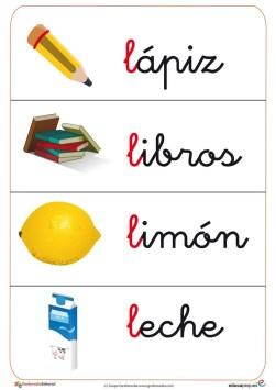 """Fichas de letras con la letra """"L"""""""
