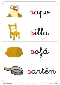 fichas de letras que comienzan por la letra S como silla, sofa ,etc.