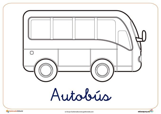 autobus ficha transporte colorear