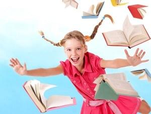 niña volando con libros