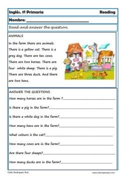 Reading writting ingles primero primaria 09