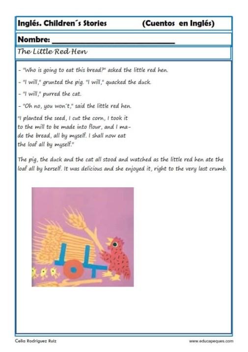comprensión lectora inlges cuentos 19