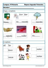 ejercicios lengua primero primaria 12