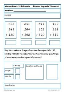 Problemas de matemáticas para segundo de primaria