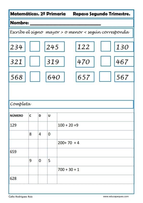 matematicas segundo primaria