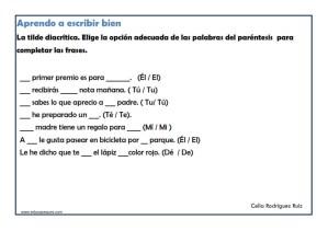 ejercicios ortograficos para imprimir