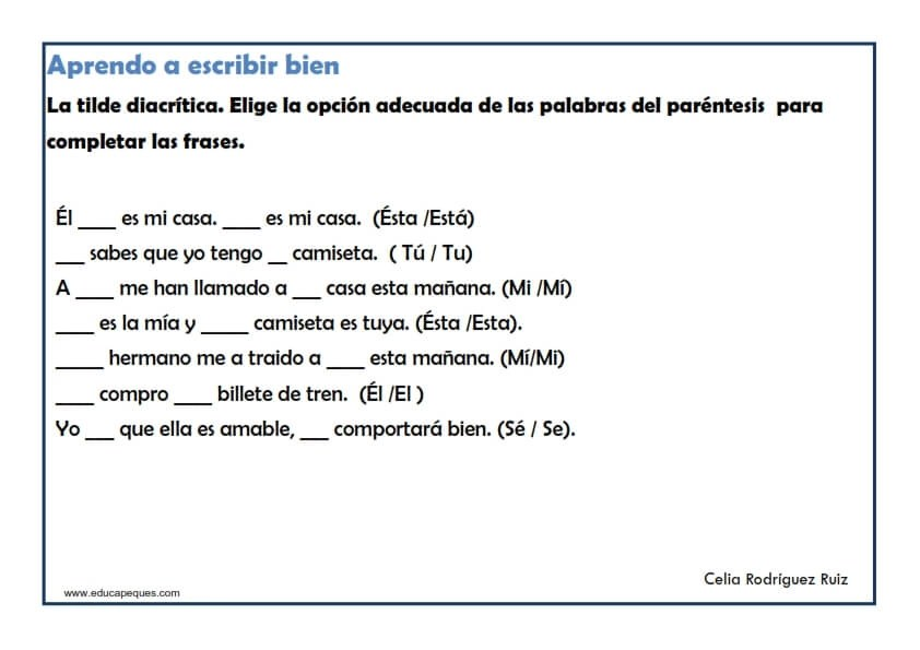 cuadernillo de ortografía para imprimir