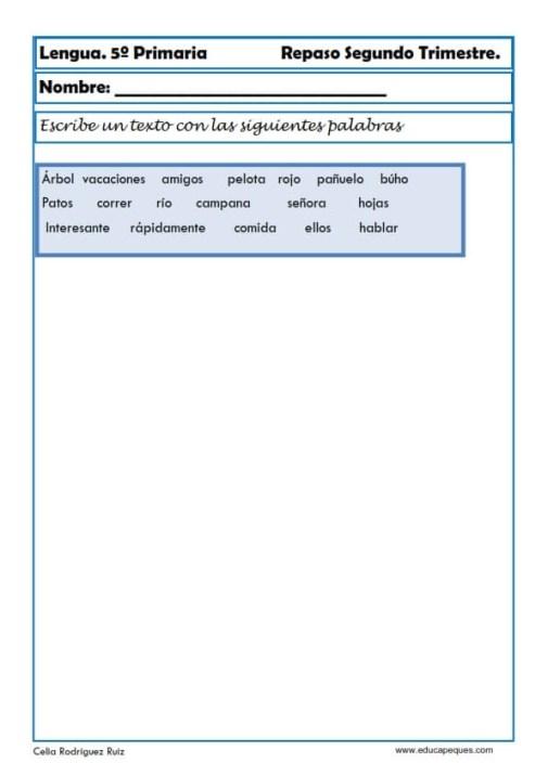 Fichas lengua quinto primaria 24